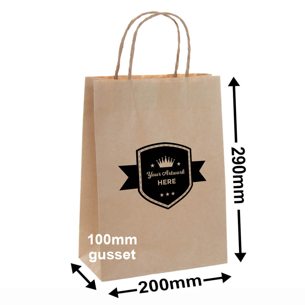 PAPER BAGS WITH HANDLES<br>Printed 1 Colour 1 Side