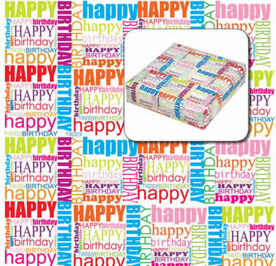 Happy Birthday Paper<br>Bulk 60m wrapping roll