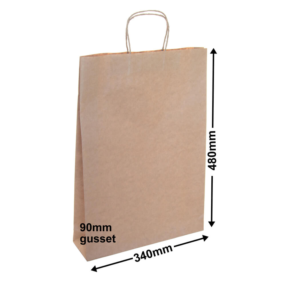 Brown Paper Carry bags<br>340 x 480 - *Pack 50*
