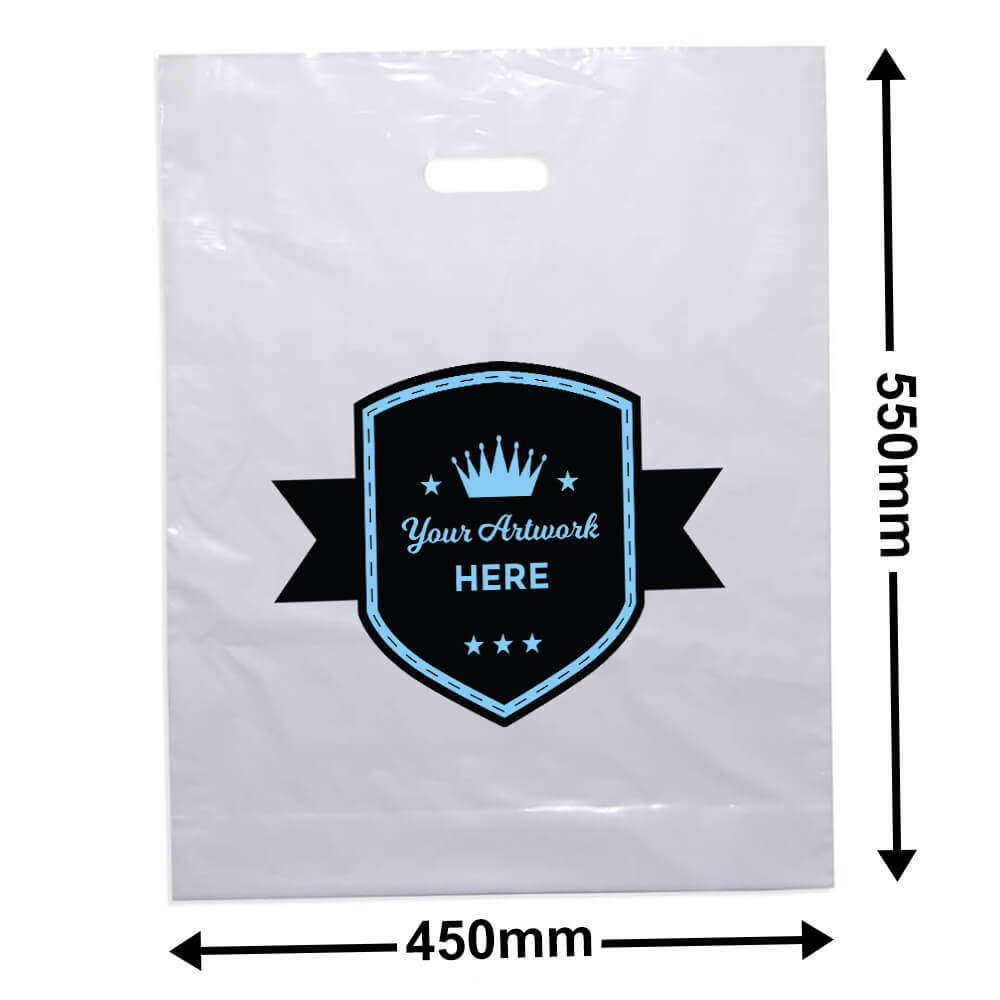 Extra Large White Plastic Bag Printed 2 colour 2 side