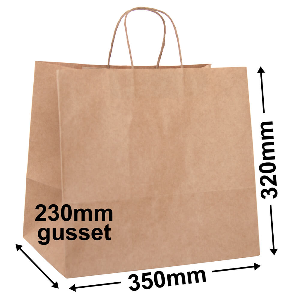 Large Brown Paper Takeaway<br>Bag 320 x 350 + 230 - *Ctn 100*