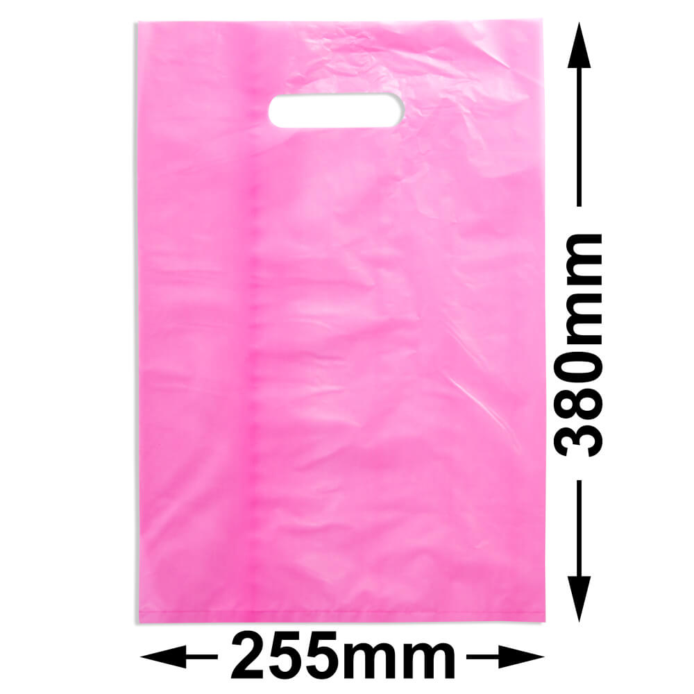 Medium Plastic Carry Bag<br>Pink 255 x 380 *Pack 100*