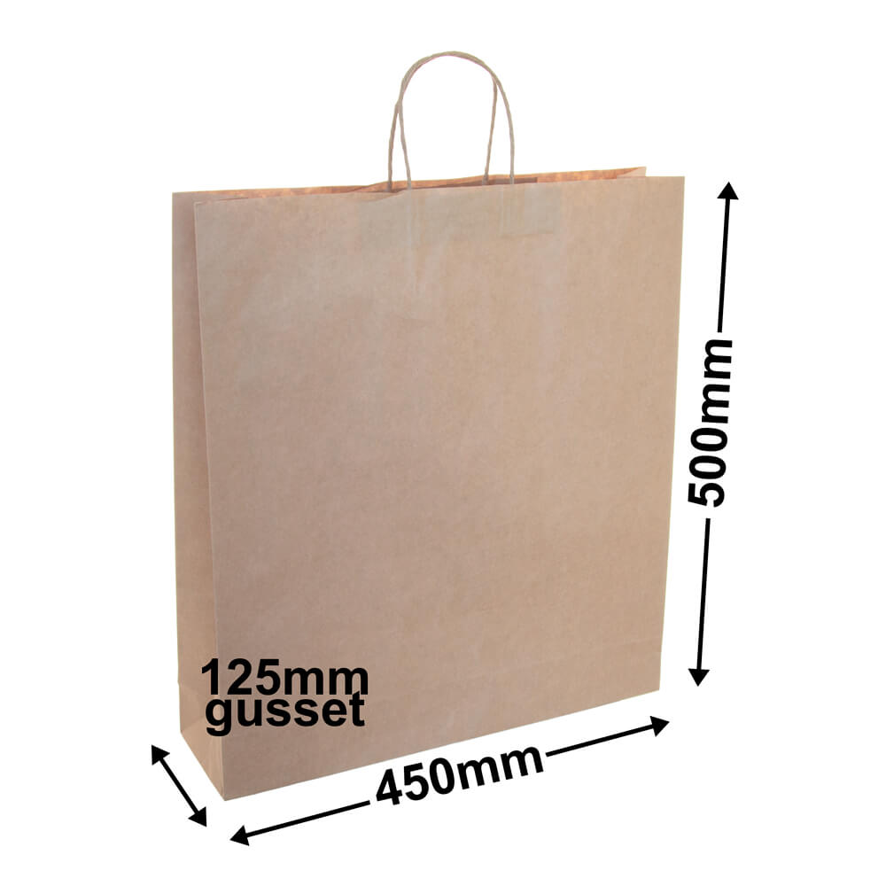 Brown Paper Carry bags<br>450 x 500 - *Pack 25*