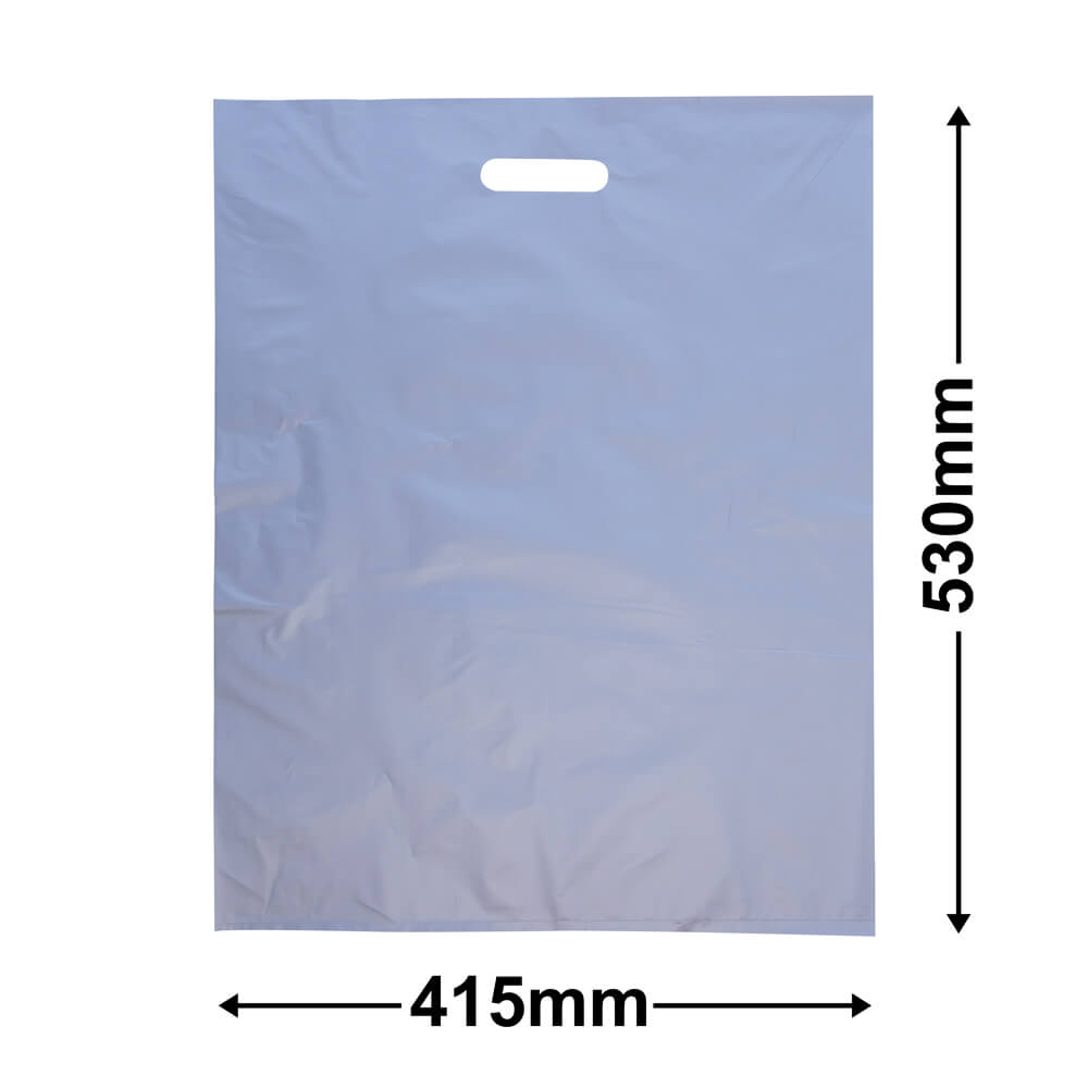 Large Plastic Carry Bag<Br>Silver 415 x 530 *Pack 100*