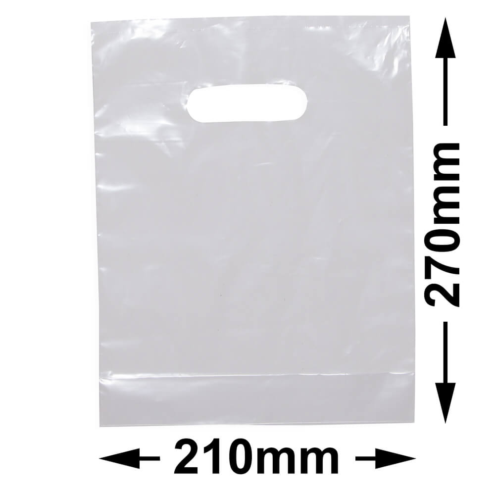 Small Plastic Carry Bag<br>Clear + Gusset *Pack 100*