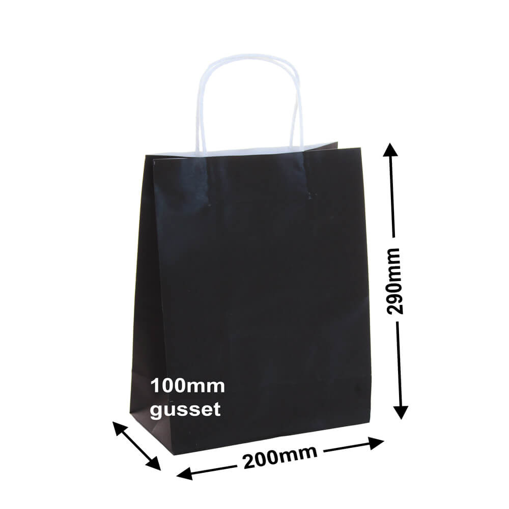 Paper Carry Bags Black<br>200x290+100