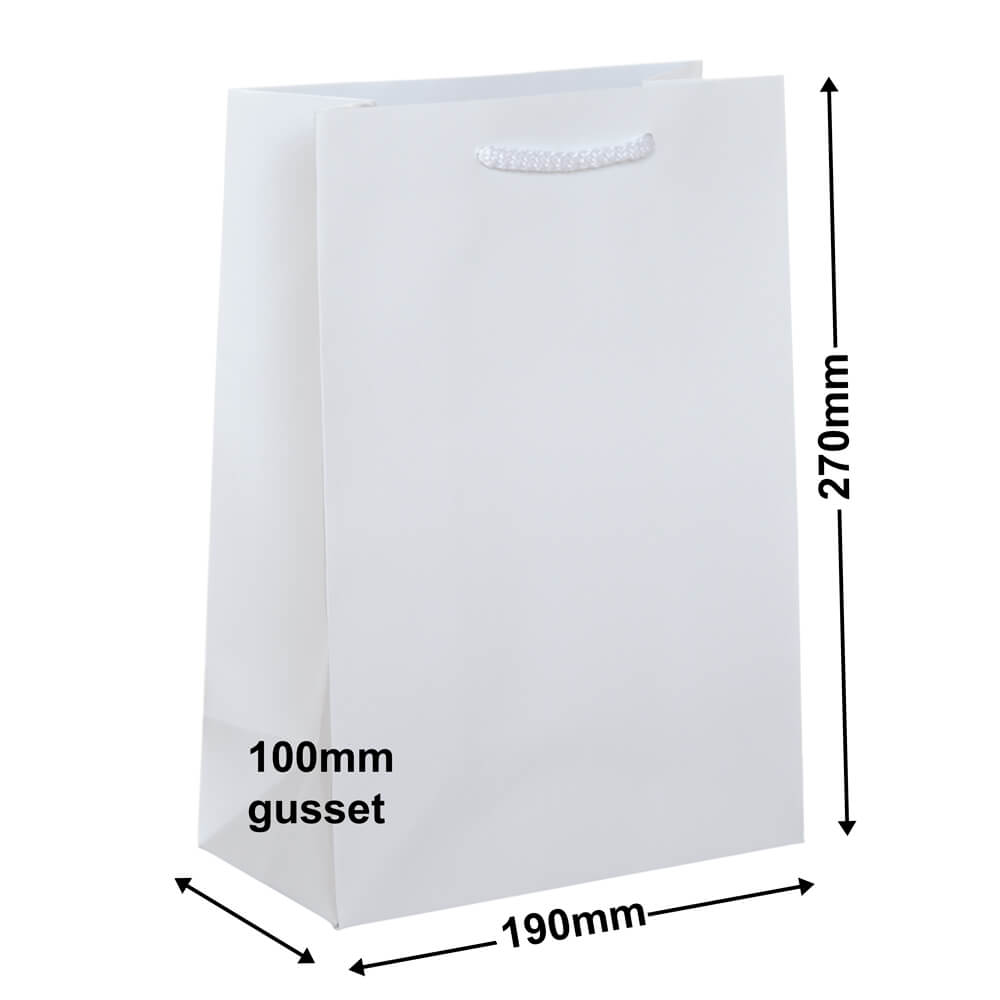 White Small Gloss Bag<br>190 x 270 *Carton 200*