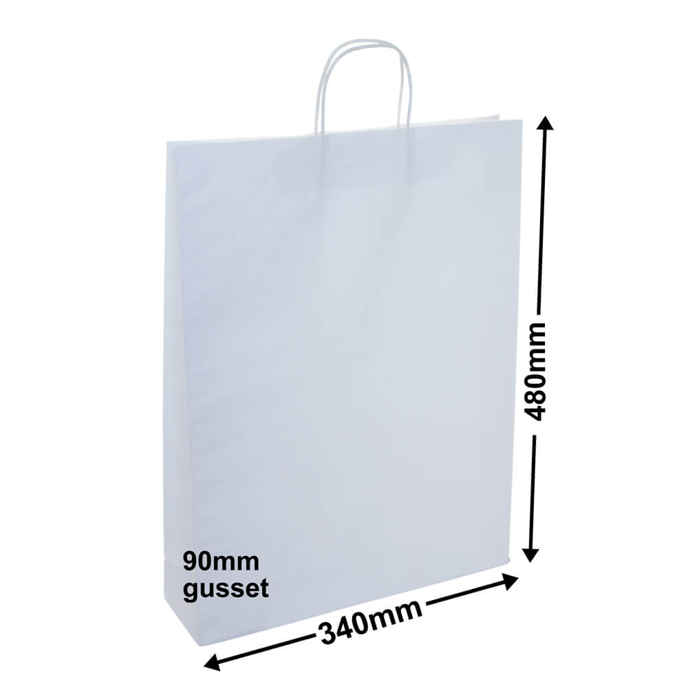White Paper Carry Bag 340x480+90 *Carton 250*