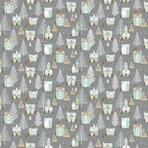Christmas Wrapping Paper Mint & Silver Xmas Town on Matt  - 50m