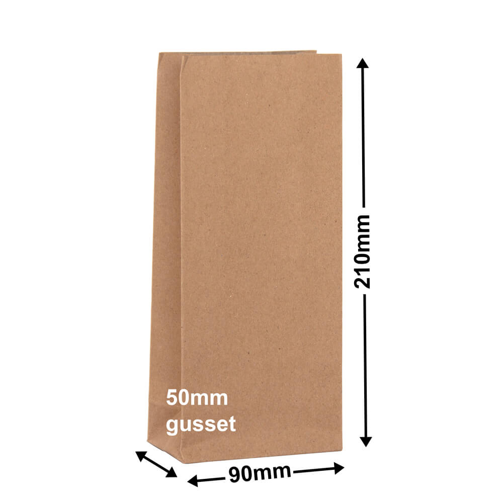 Brown Paper Grocery Bags<br>Size 1 90 x 210 *Carton 500*