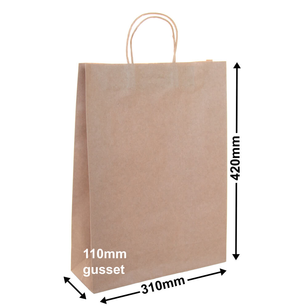 Brown Paper Carry bags<br>310 x 420 - *Pack 50*