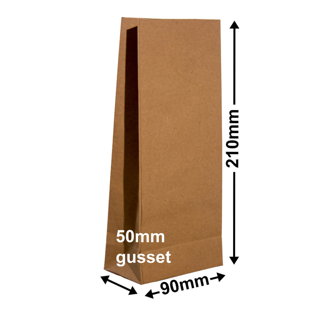 Paper Gift Bags Brown 90x210+50 with no handles