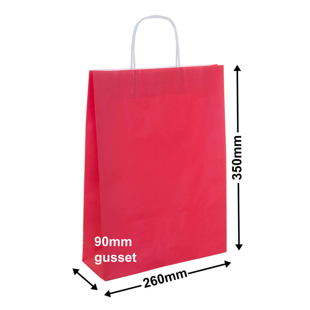 Paper Carry Bag Red<br>260x350 + 90