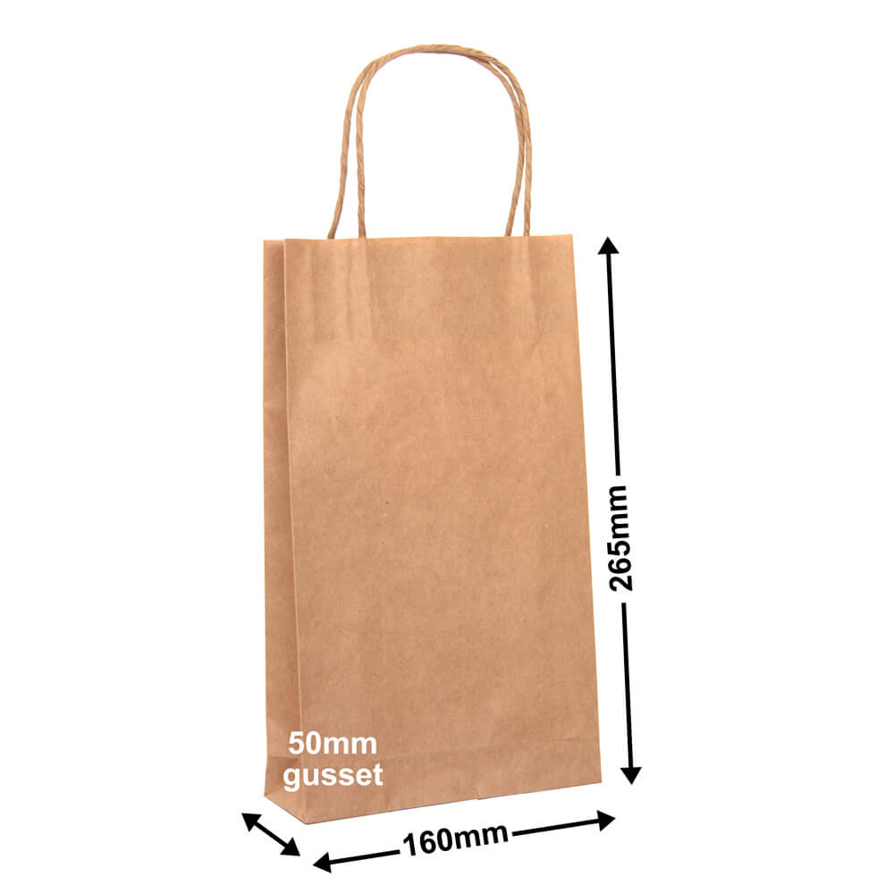 Brown Paper Carry bags<br>160 x 265 - *Pack 50*
