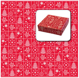 Red Christmas Paper Printed White Pattern - 10m