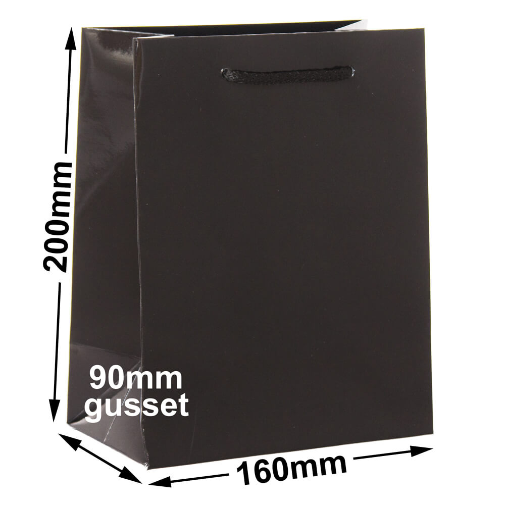 Black Extra Small Gloss<br>160 x 200 *Pack 50*