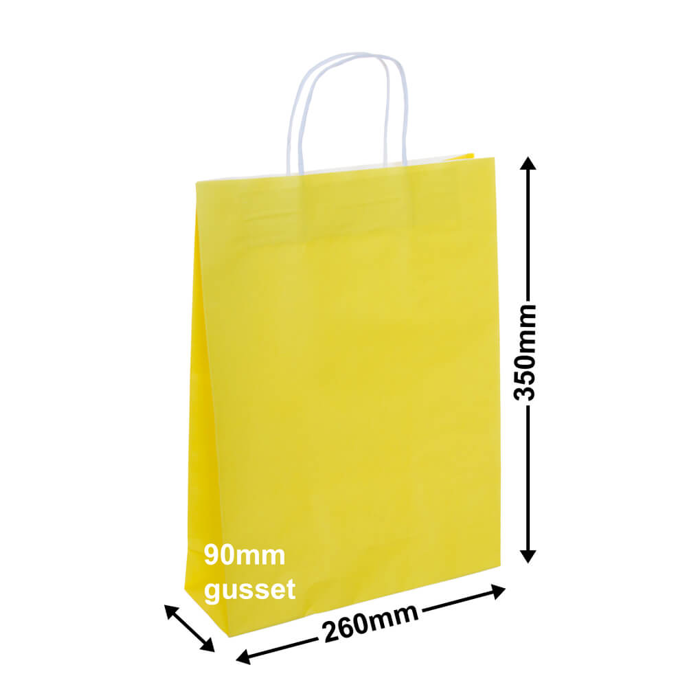 Paper Carry Bag Yellow<br>260x350 + 90