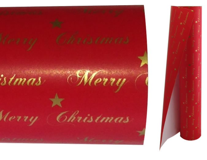 Gold Merry Christmas On Red  Wrapping Paper - 60m