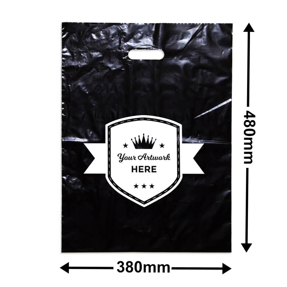 Large Black Plastic Carry Bag Printed 1 colour 1 side