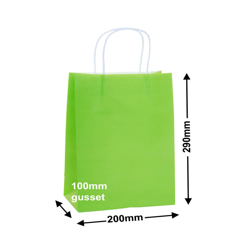 Paper Carry Bag Lime<br>200x290+100mm