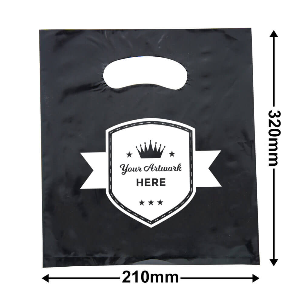 Small Black Plastic Carry Bag Printed 1 colour 1 side