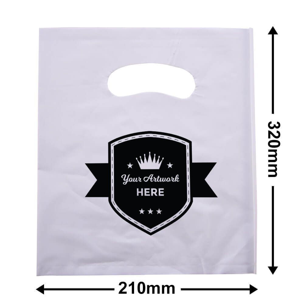 Small White Plastic Carry Bag Printed 1 colour 2 side