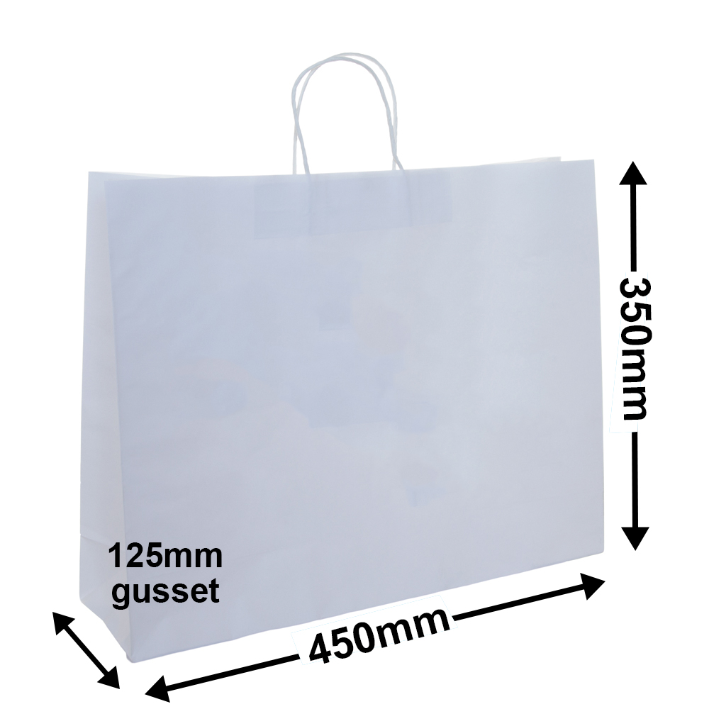 White Paper Carry bags 450x350+120 *Pack 25*
