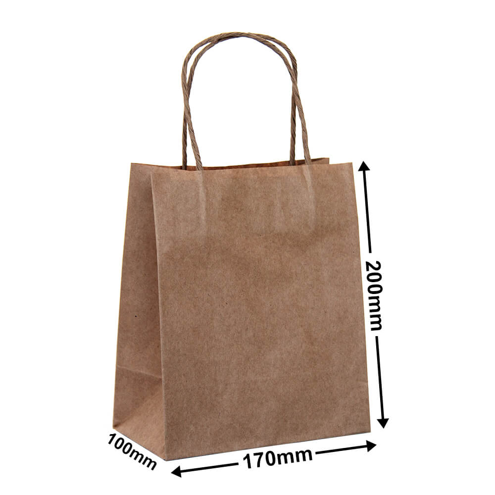 Brown Paper Carry bags<br>170 x 200 - *Carton 500*