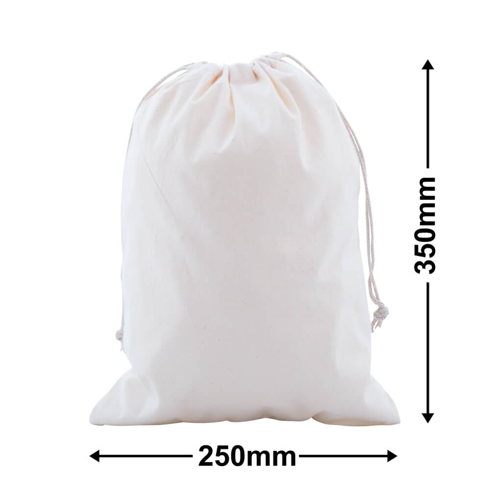 Calico Bags Drawstring 250mm x 350mm (PACK50)