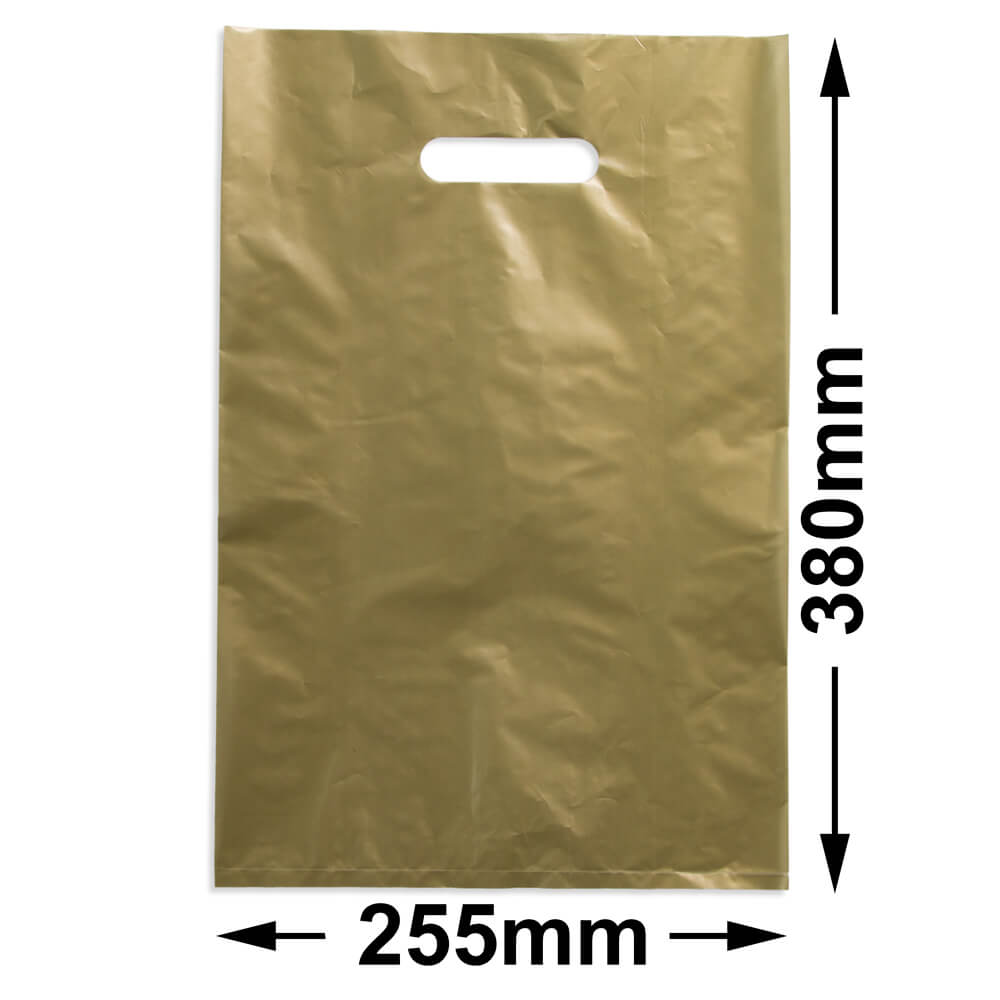 Medium Plastic Carry Bag<br>Gold 255 x 380 *Pack 100*
