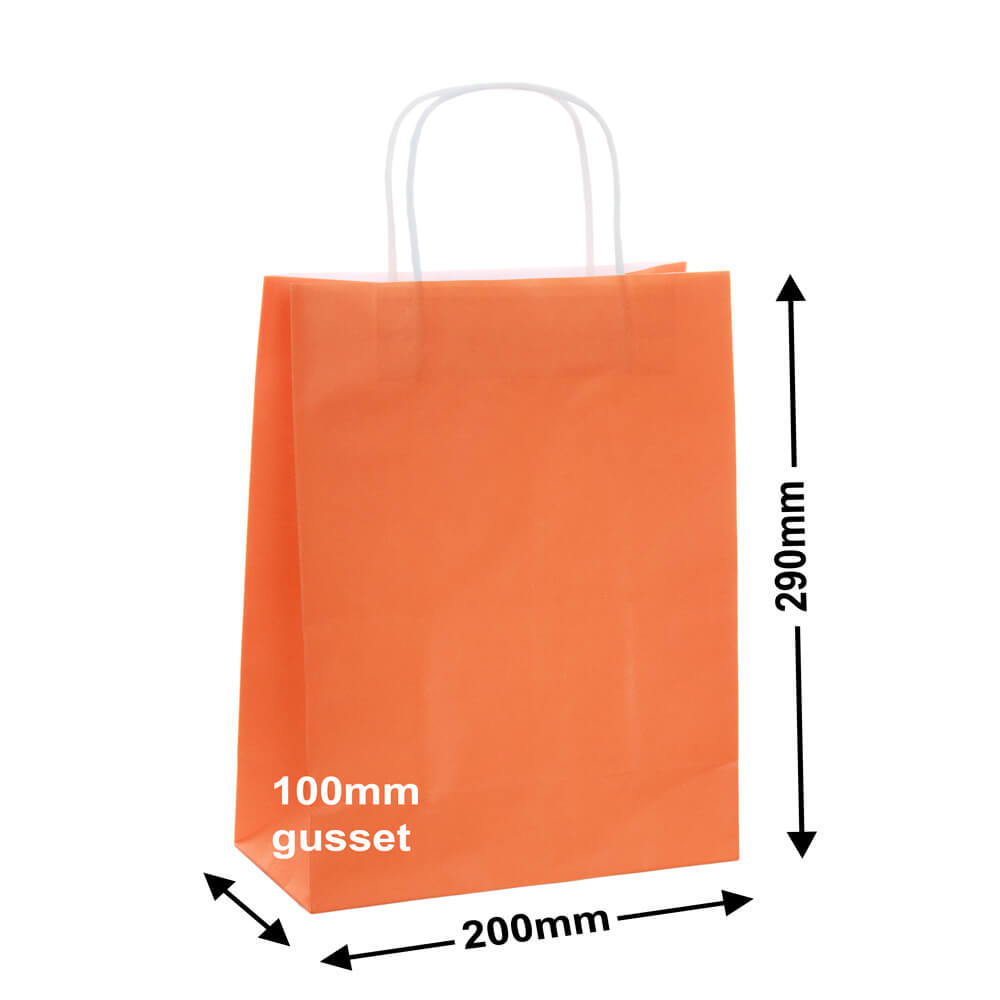 Paper Carry Bags Orange 200 x 290 + 100mm