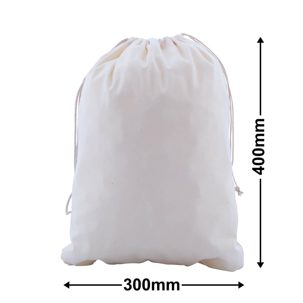 Calico Bags Drawstring 300mm x 400mm (PACK50)