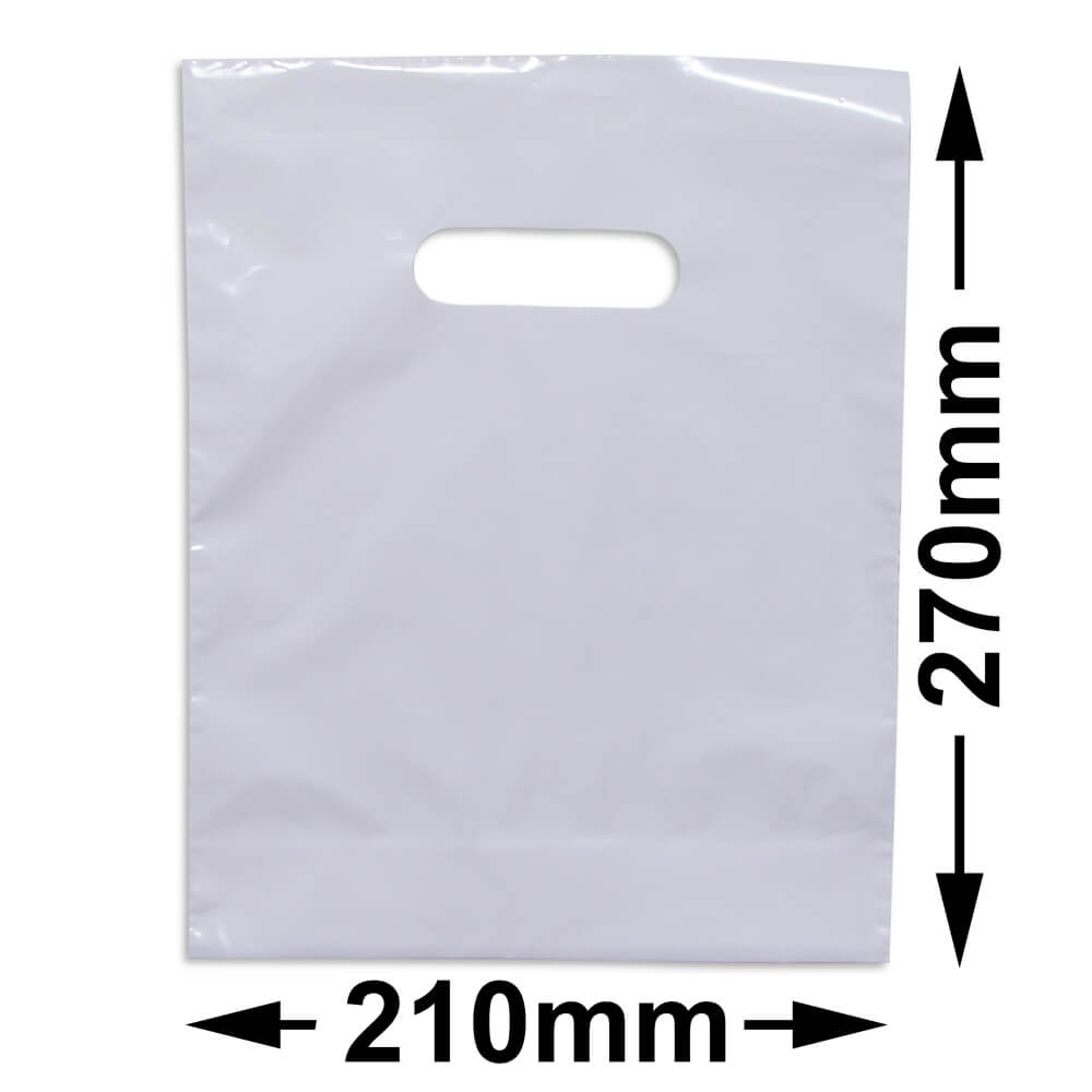 Small Plastic Carry Bag<br>White 210 x 270 + GUSSET