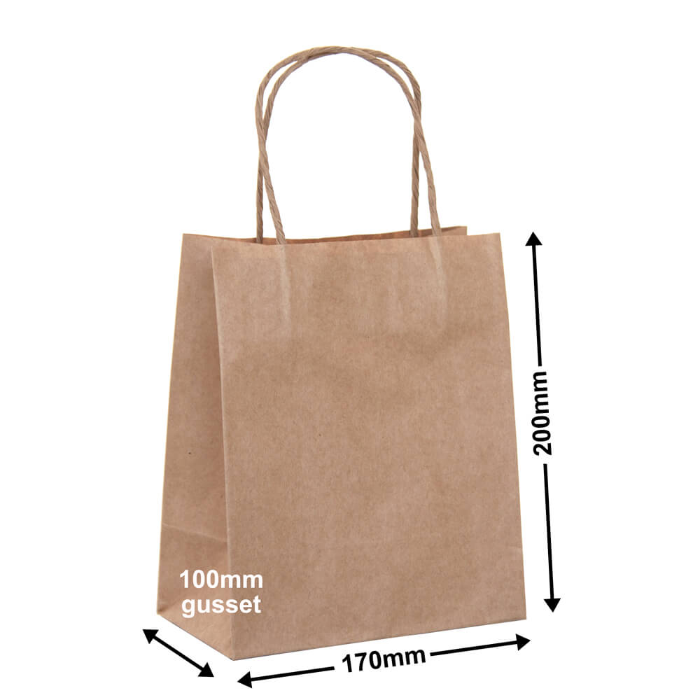 Brown Paper Carry bags<br>170 x 200 - *Pack 50*