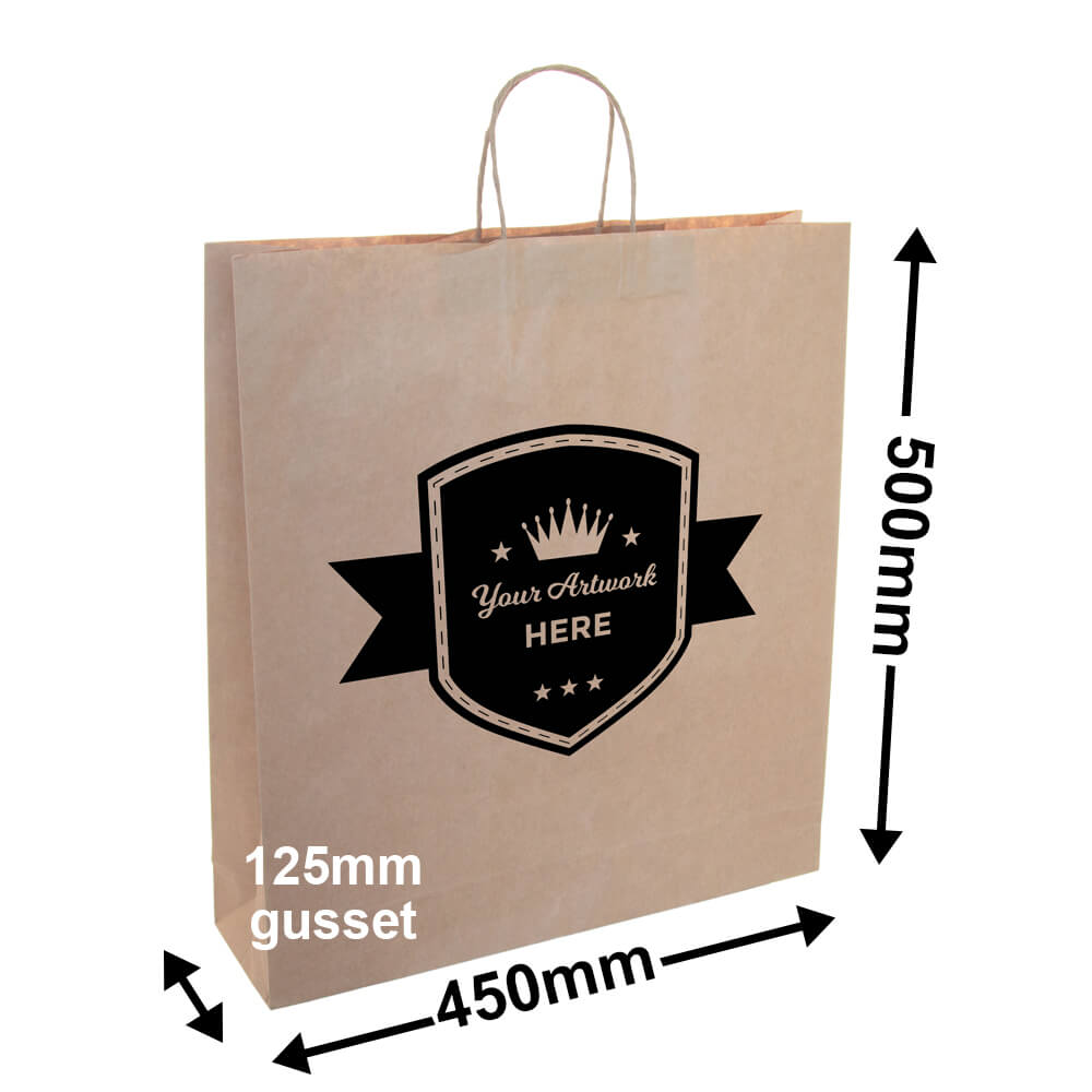 PAPER BAGS WITH HANDLES<br>Printed 1 Colour 2 Sides