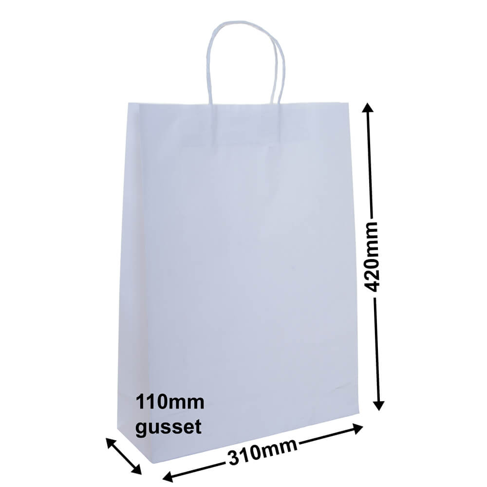 White Paper Bag A3 size 420 x 310 + 110mm + handles | QIS Packaging