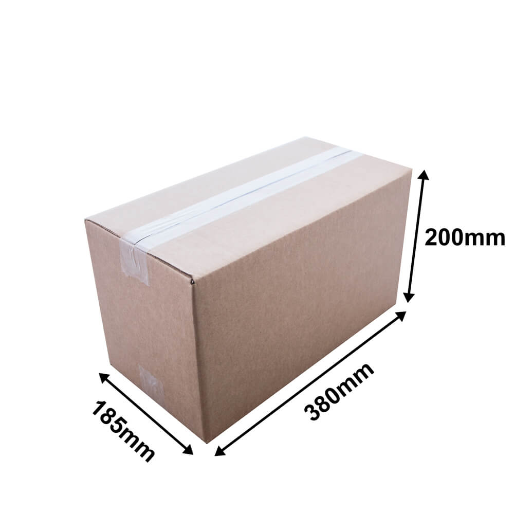 Brown cardboard carton L 380 x W 185 x H 200mm