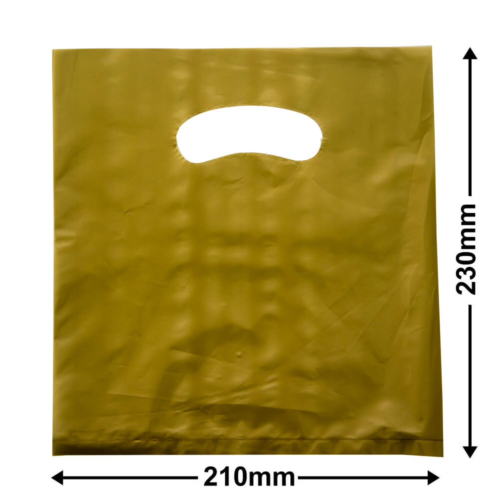 Small Plastic Carry Bag<br>Gold 210 x 230 *Pack 100*