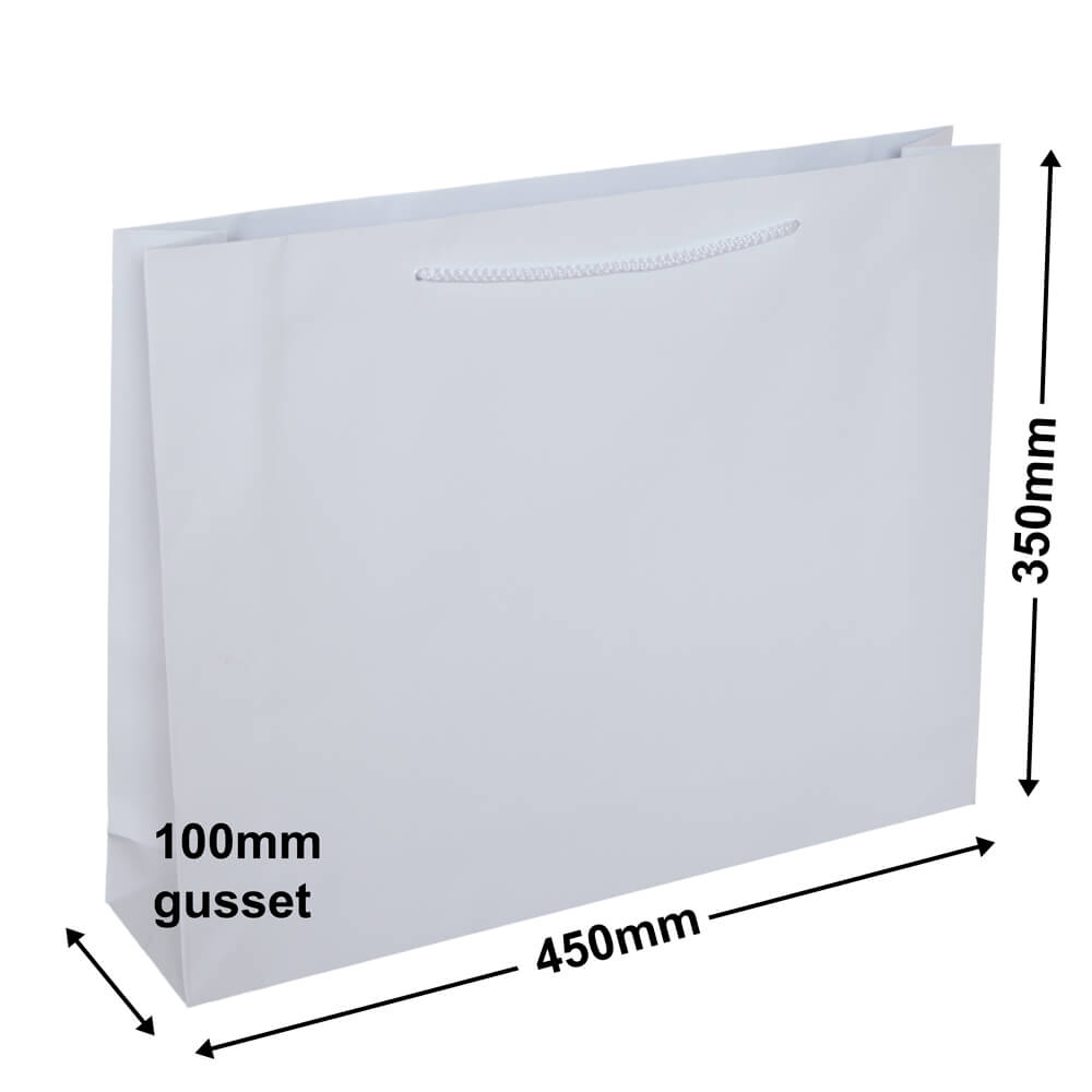 White Gloss Bag -Landscape<br>Large 450 x 350 *CTN 100*