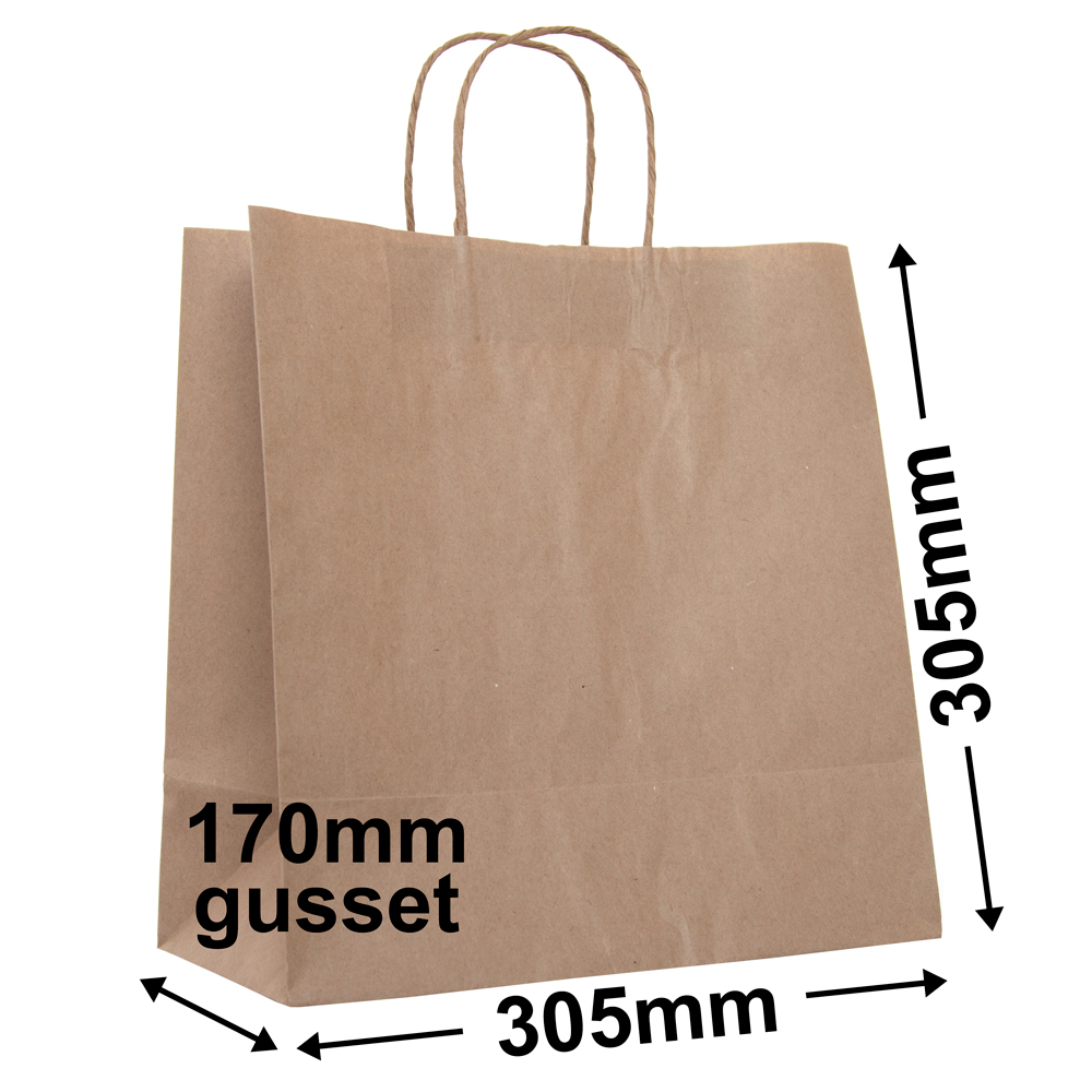 Brown Paper Takeaway <br>Bag 330 x 320 + 170 - *Ctn 250*