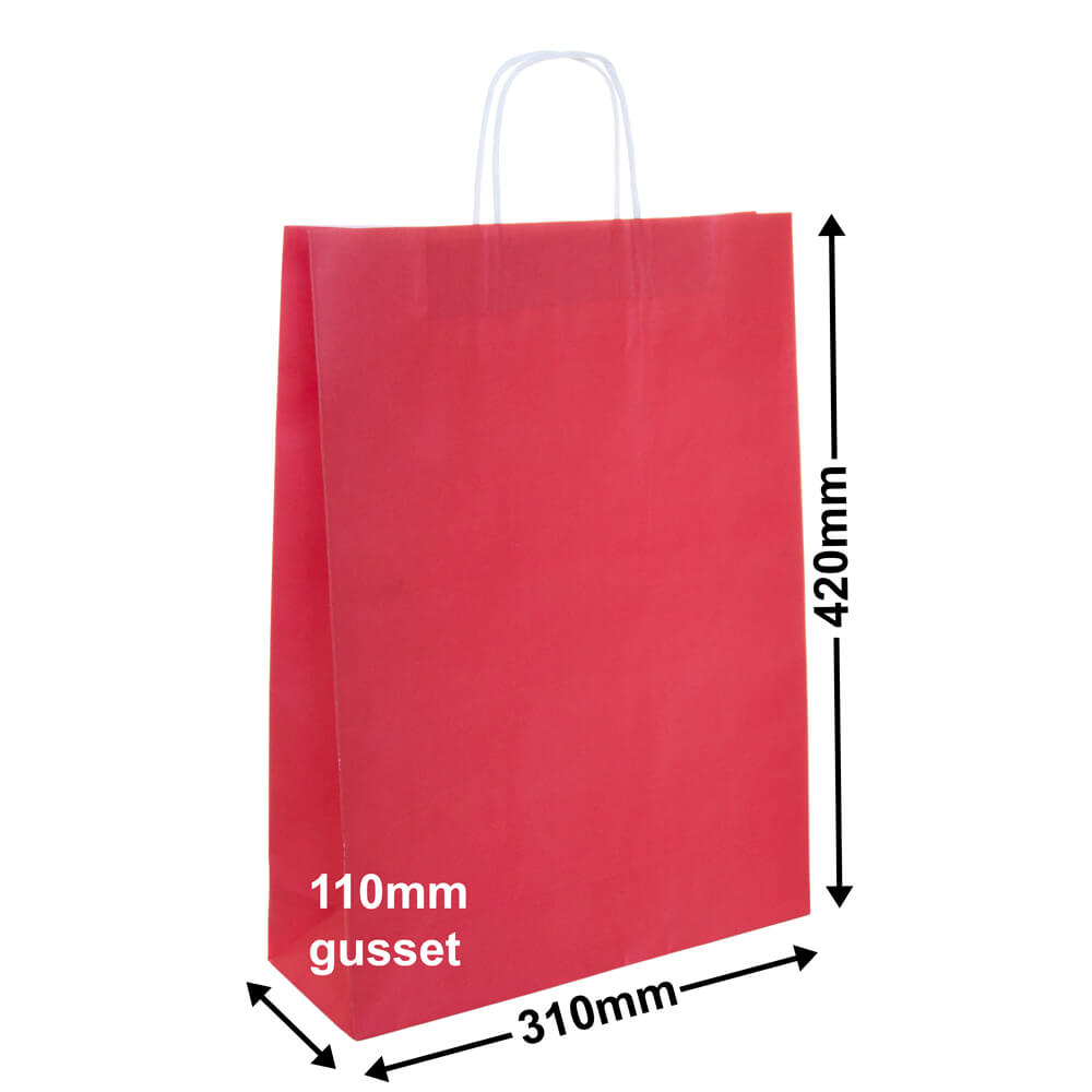 Paper Carry Bag Red<br>310x420 + 110