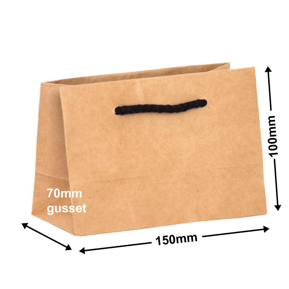 Brown Deluxe Paper Bags<br>100mm x 150mm Pack of 50