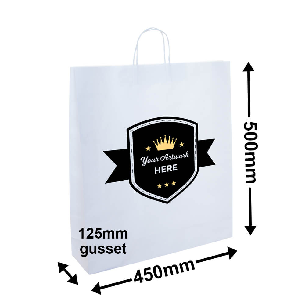 PAPER BAGS WITH HANDLES<br>Printed 2 Colours 1 Side