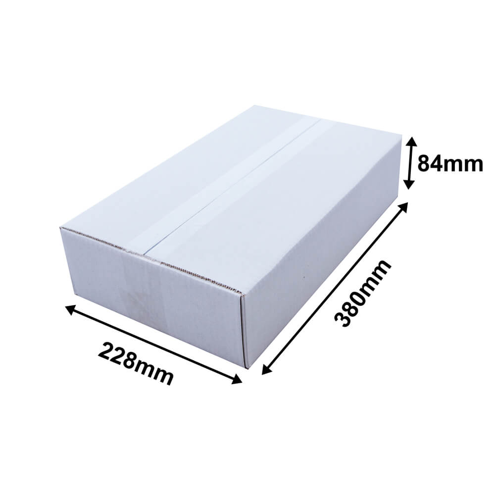 White cardboard box L 380 x W 228 x H 84mm