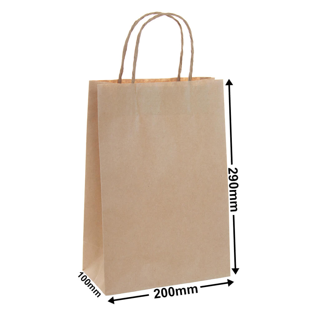 Brown Paper Carry bags<br>200 x 290 - *Carton 250*