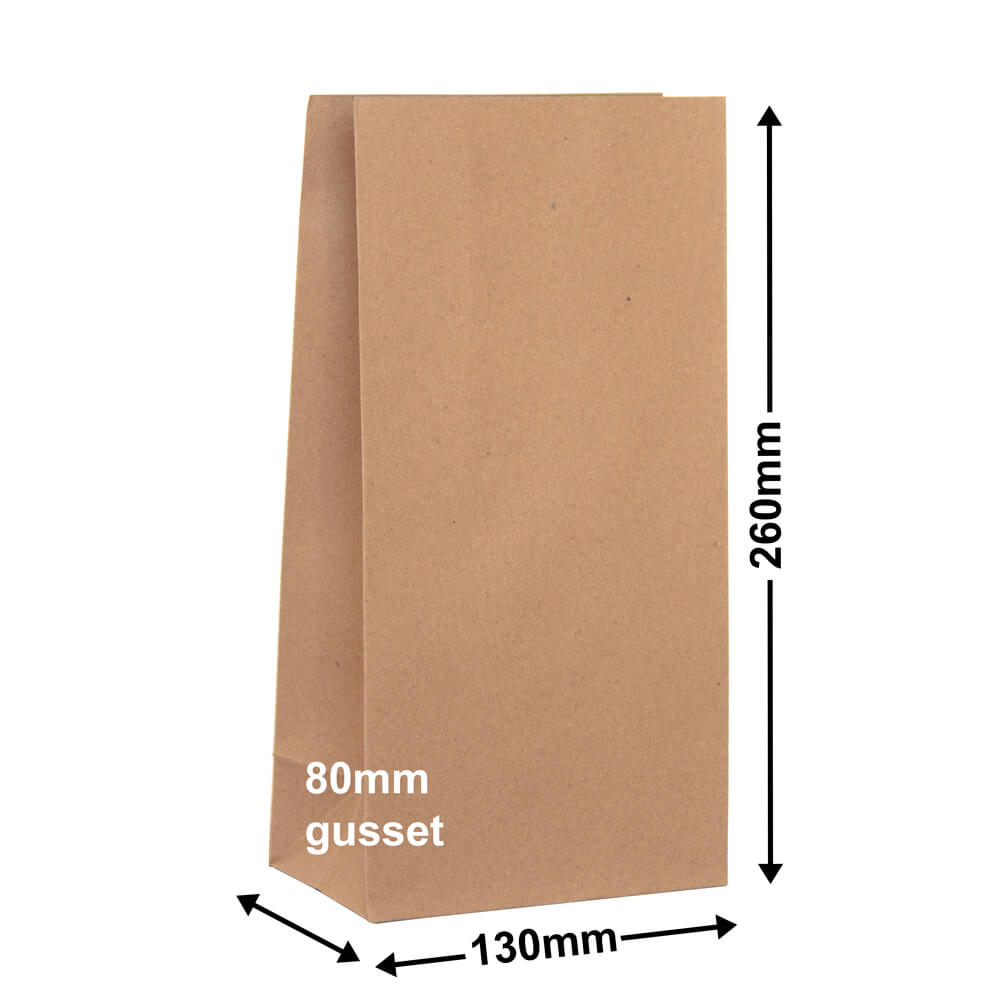 Brown Paper Grocery Bags<br>Size 2 130 x 260 *Carton 500*