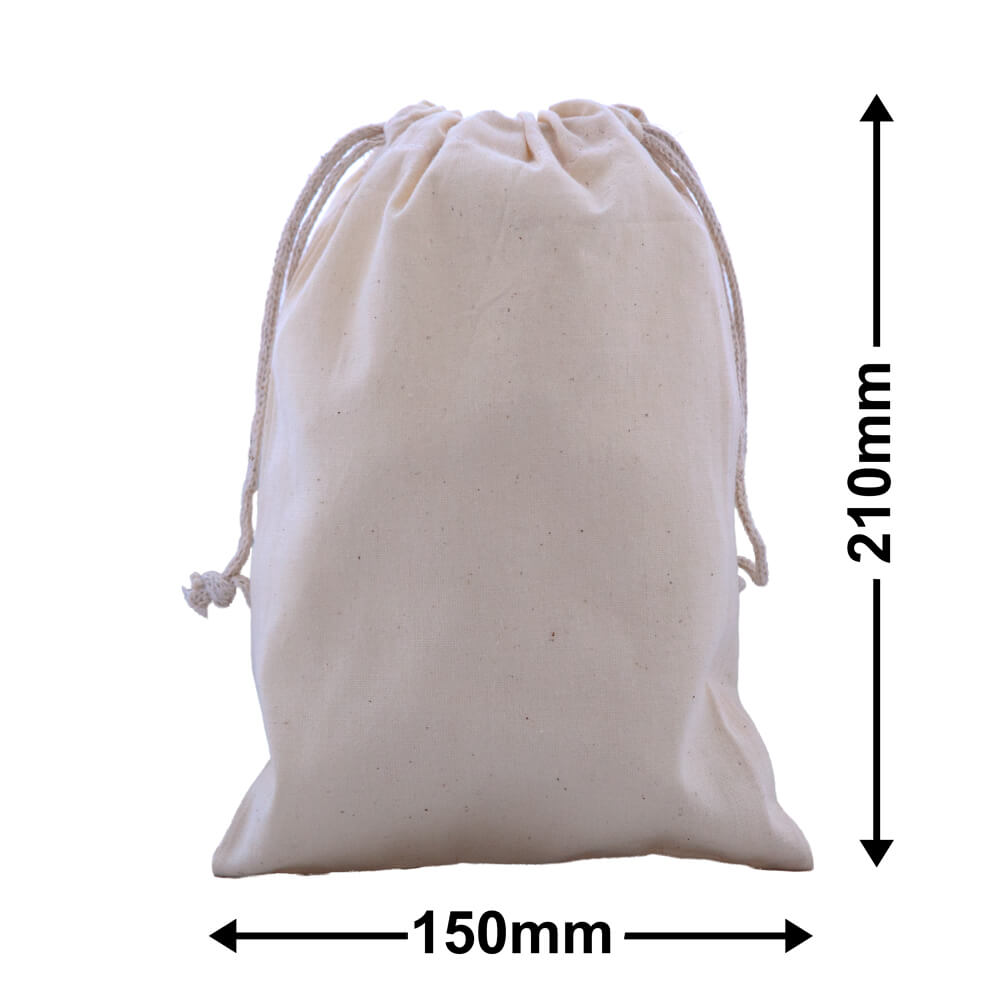 Calico Bags Drawstring 210mm x 150mm (PACK50)