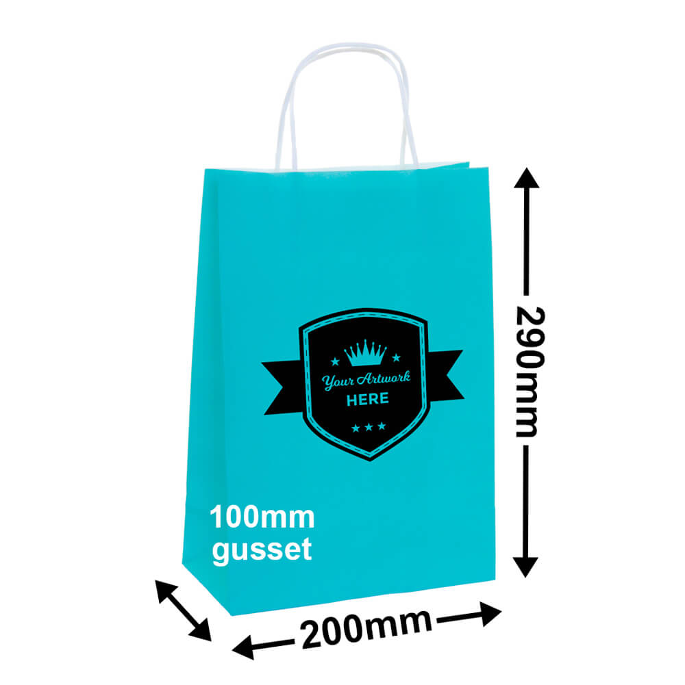 PAPER BAGS - 8 COLOURS<br>1 COLOUR 1 SIDE