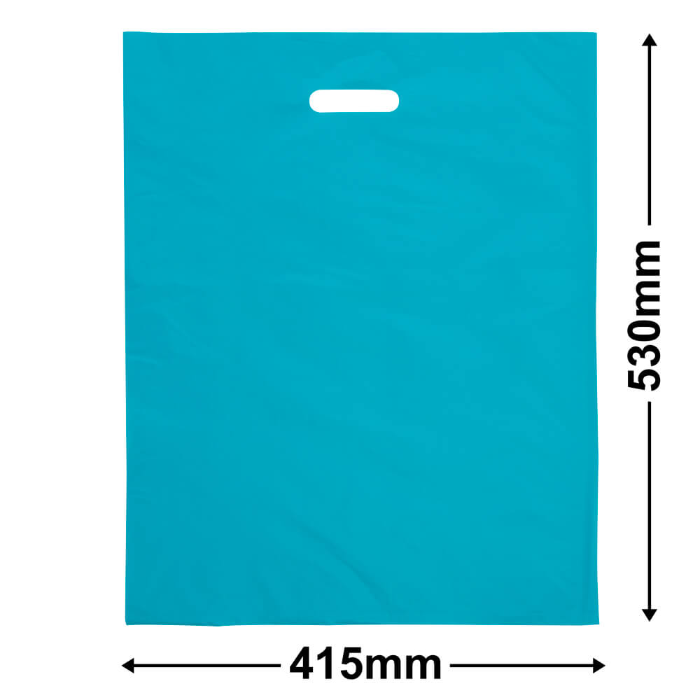 Large Plastic Carry Bag<Br>Aqua 415 x 530 *Pack 100*