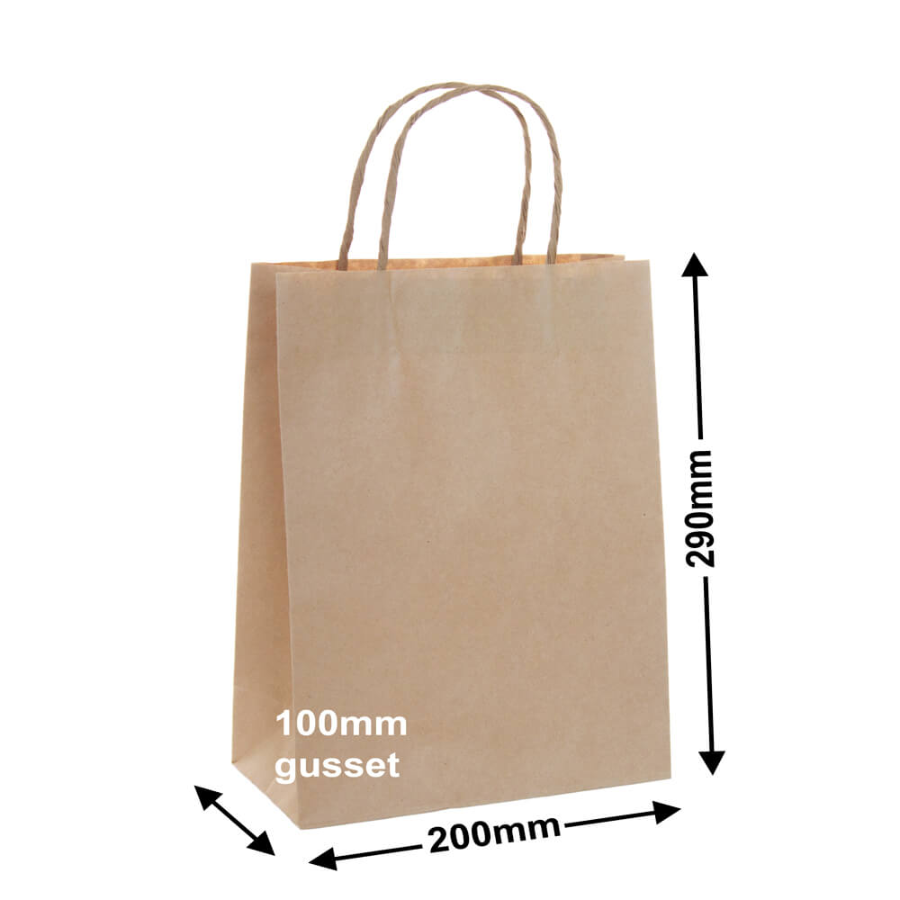 Brown Paper Carry bags<br>200 x 290 - *Pack 50*